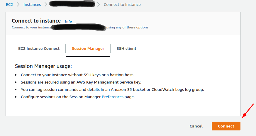 Connect instance EC2 voi Session Manager